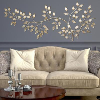 Brushed Gold Flowing Leaves Wall Decor