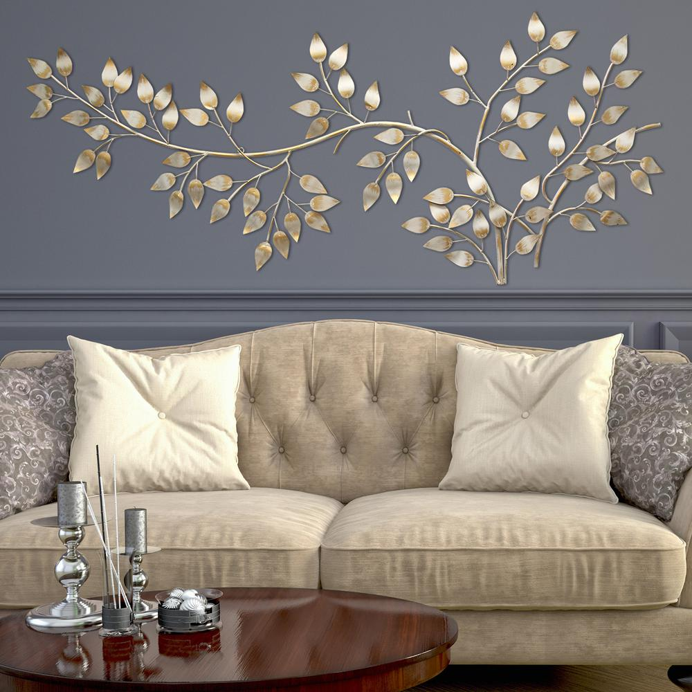 Wall Art Decor Gold : Stratton home decor brushed gold flowing leaves wall