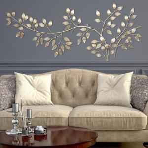Stratton Home Decor Brushed Gold Flowing Leaves Wall Decor by Stratton Home Decor