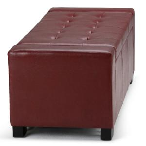 Fantastic Simpli Home Laredo Large Storage Ottoman In Radicchio Red Machost Co Dining Chair Design Ideas Machostcouk