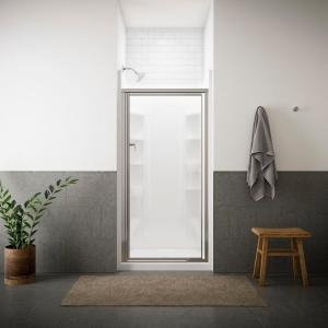 Sterling Vista Pivot II 27-1/2 inch x 65-1/2 inch Framed Pivot Shower Door in Silver with Handle by STERLING