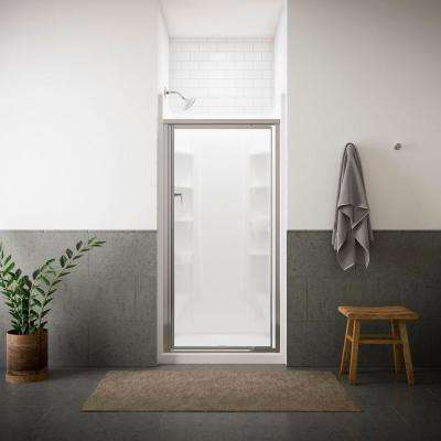Vista Pivot II 36 in. x 65-1/2 in. Framed Pivot Shower Door in Silver with Handle