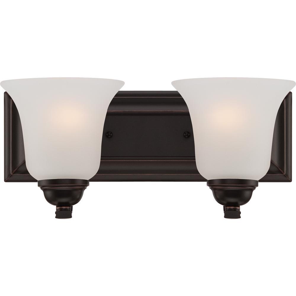 Bathroom Vanities Sudbury: Glomar Klarissa 2-Light Sudbury Bronze Bath Vanity Light