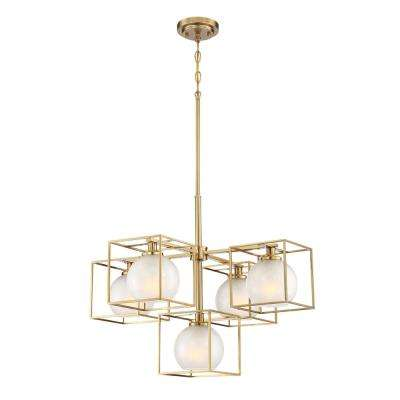 Cowen 5-Light Brushed Gold Interior Chandelier with Clear Polished Etched Glass Shade
