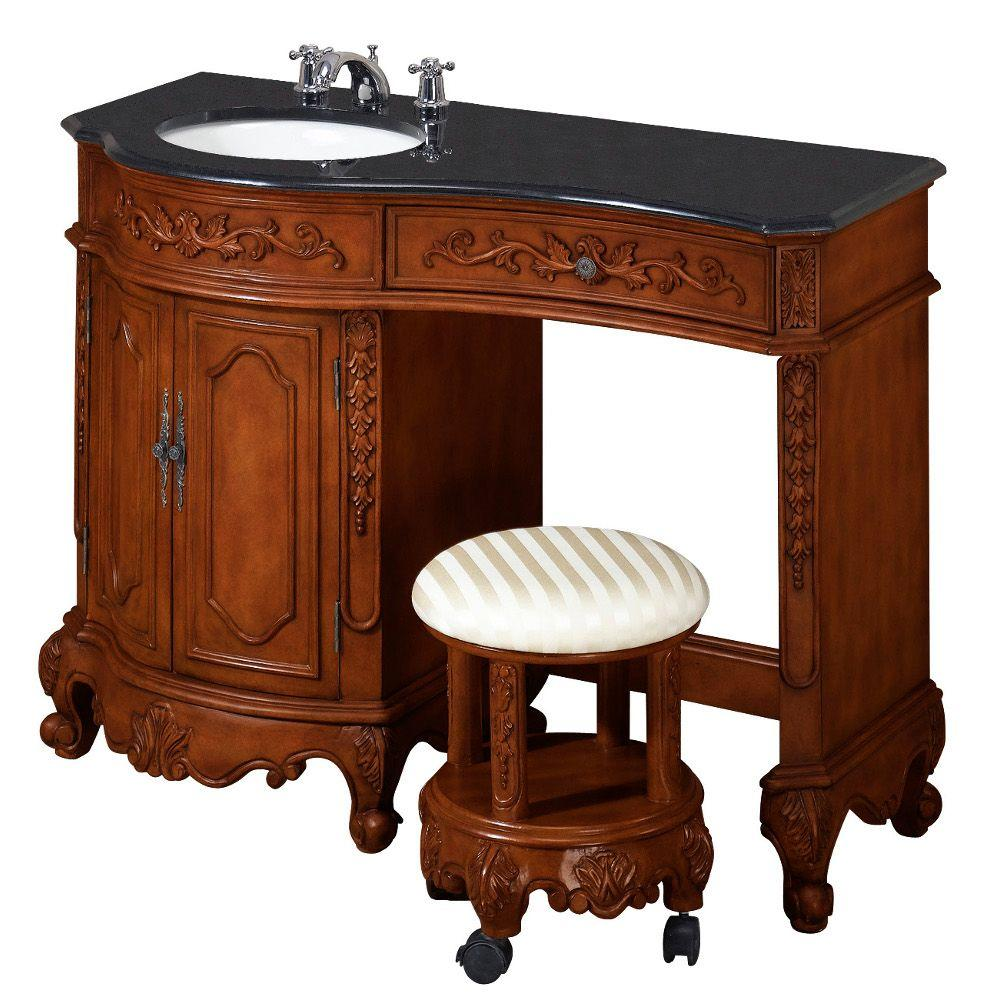 Home Decorators Collection Winslow 35 in. H x 48 in. W Vanity in Antique Cherry with Black Granite Top and Vanity Stool