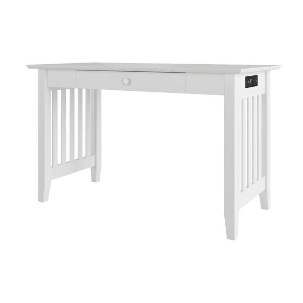 Atlantic Furniture Mission White Desk with Drawer and Charger AH12222