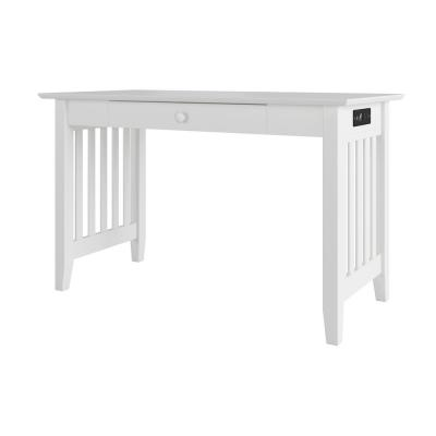 48 in. Rectangular White 1 Drawer Writing Desk with Solid Wood Material