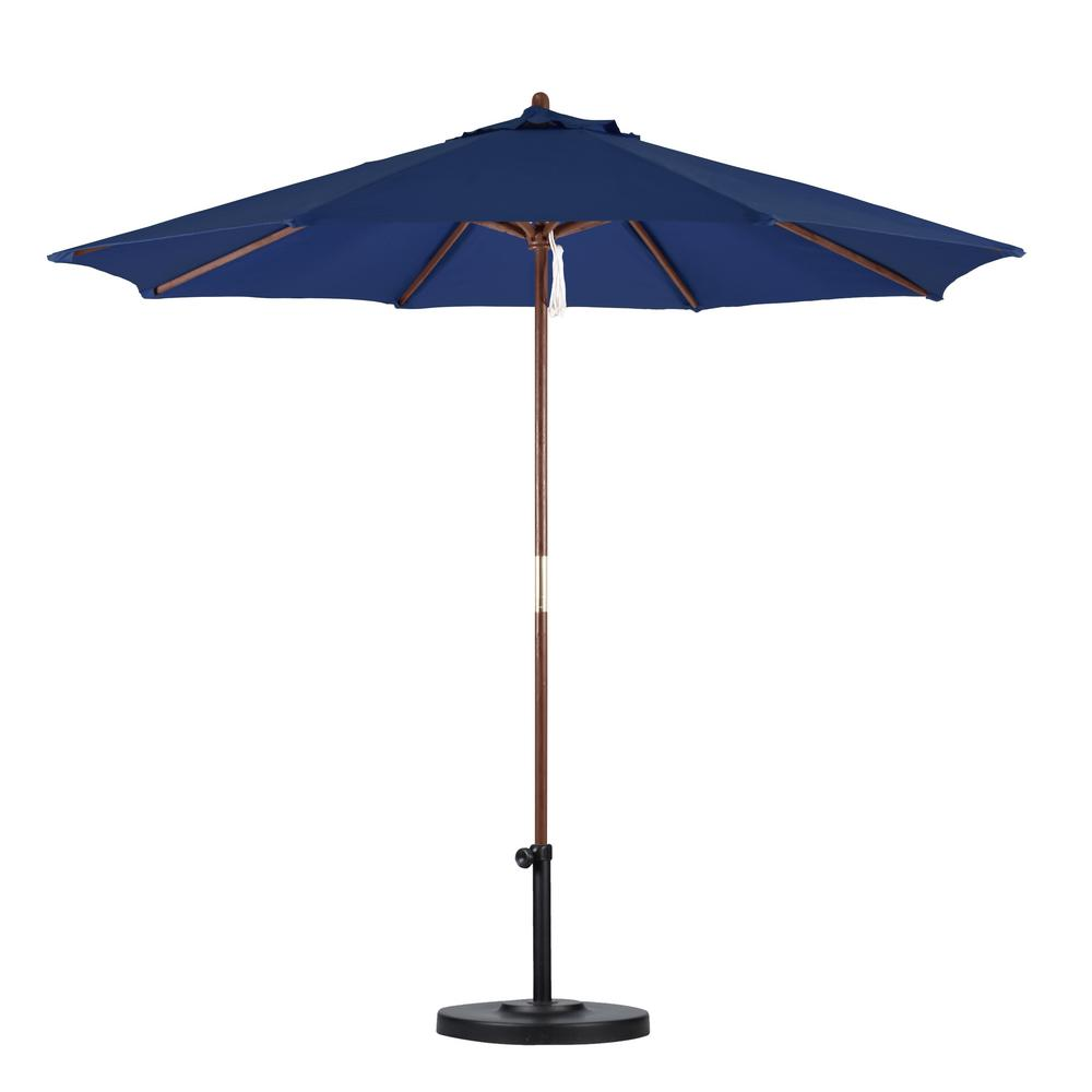 Delicieux California Umbrella 9 Ft. Wood Pulley Open Patio Umbrella In Navy Blue  Polyester