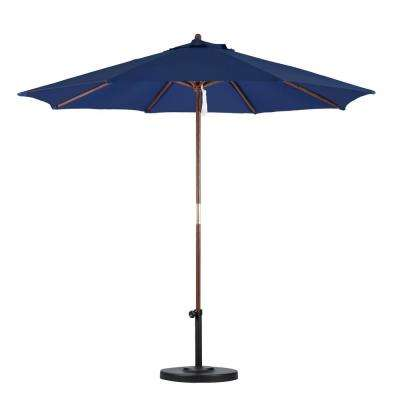 9 ft. Wood Pulley Open Patio Umbrella in Navy Blue Polyester