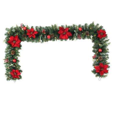9 ft Berry Bliss Battery Operated Mixed Pine LED Pre-Lit Christmas Garland with Timer