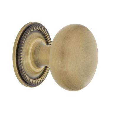 New York 1-3/8 in. Antique Brass Cabinet Knob with Rope Rose
