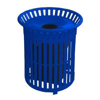 34 Gal. Blue Steel Outdoor Trash Can with Steel Lid and Plastic Liner