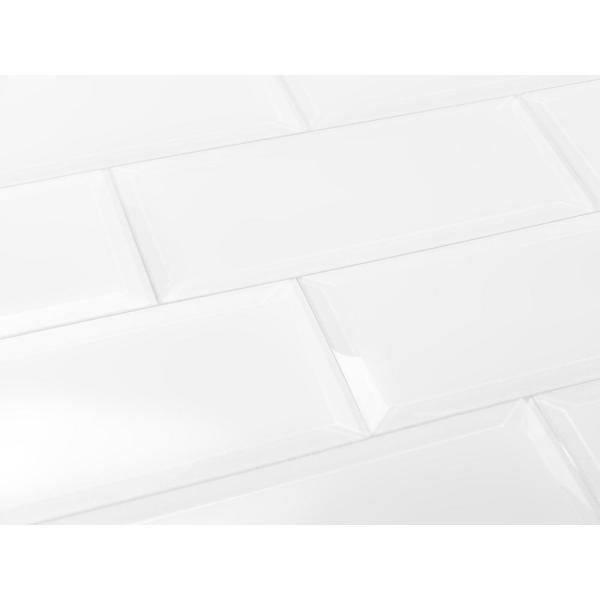 ABOLOS Subway 3 in. x 12 in. Rectangle White Beveled Matte