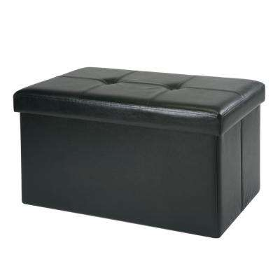 Black with Shoe Holder with 8-Pockets inside Double Folding Faux Leather Storage Ottoman
