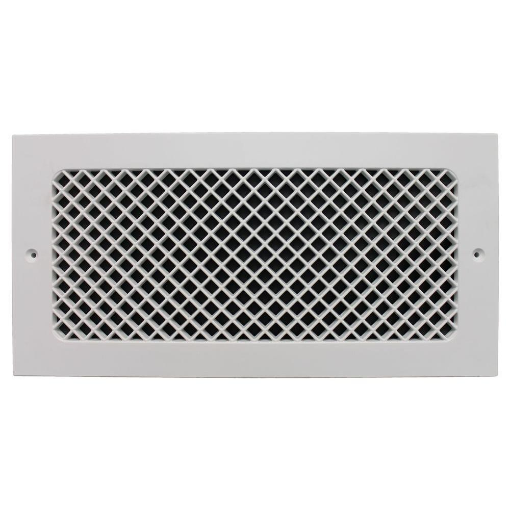 SMI Ventilation Products Essex Base Board 14 in. x 6 in. Opening, 8 in. x 16 in. Overall Size, Polymer Resin Decorative Return Air Grille, White