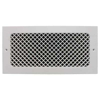 Essex Base Board 6 in. x 14 in. Opening, 8 in. x 16 in. Overall Size, Polymer Resin Decorative Return Air Grille, White