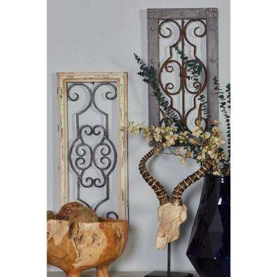 Iron Rust Brown Scrolled Metal Work with Wooden Frame