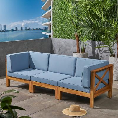 Brava Teak Brown 3-Piece Wood Outdoor Couch with Blue Cushions
