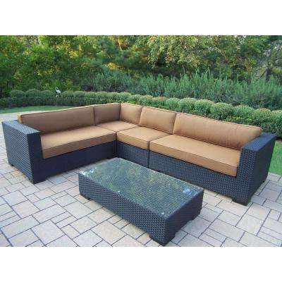 Luxury All Weather Wicker Patio Sectional Set With Sunbrella Cushions