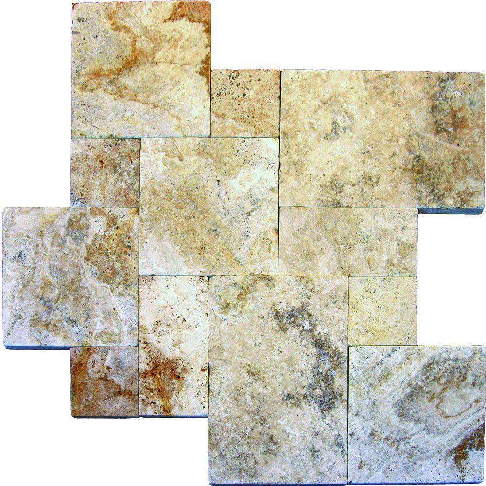 Porcini Pattern Tumbled Travertine Paver Kits (10 Kit / 160 Sq.