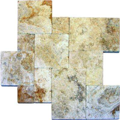 Porcini Pattern Tumbled Travertine Paver Kits (10 Kit / 160 Sq. ft. / Pallet)