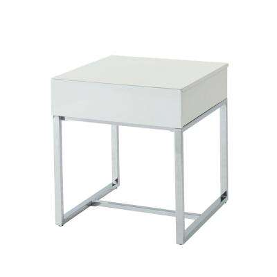 Sharpay Glossy White 1-Drawer End Table
