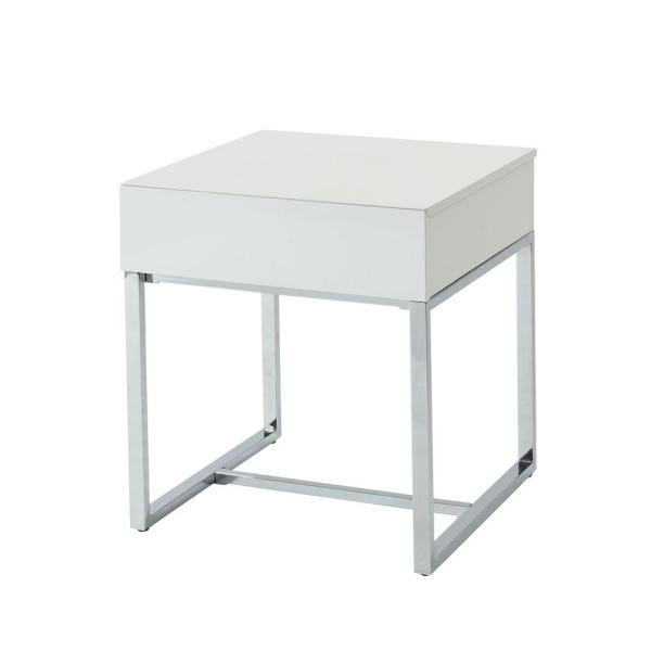Furniture of America Sharpay Glossy White 1-Drawer End Table IDF-4456E