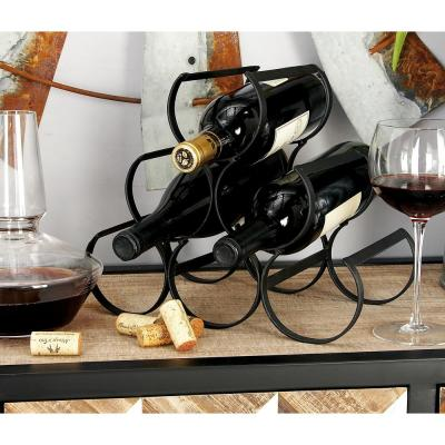 6-Bottle Black Textured Triangular Stack  Wine Rack 12 in. W x 10 in. H