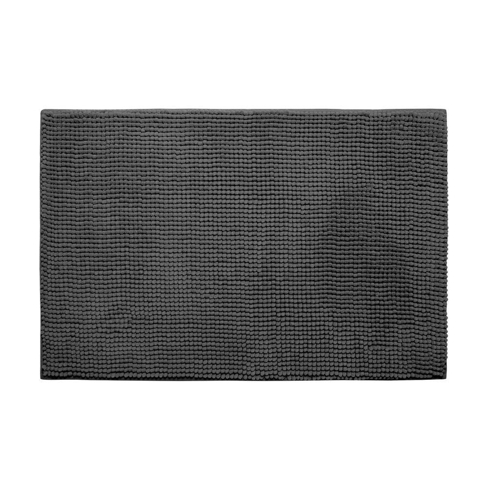 Plush Chenille Dark Gray 17 in. x 24 in. Memory Foam Bath Mat