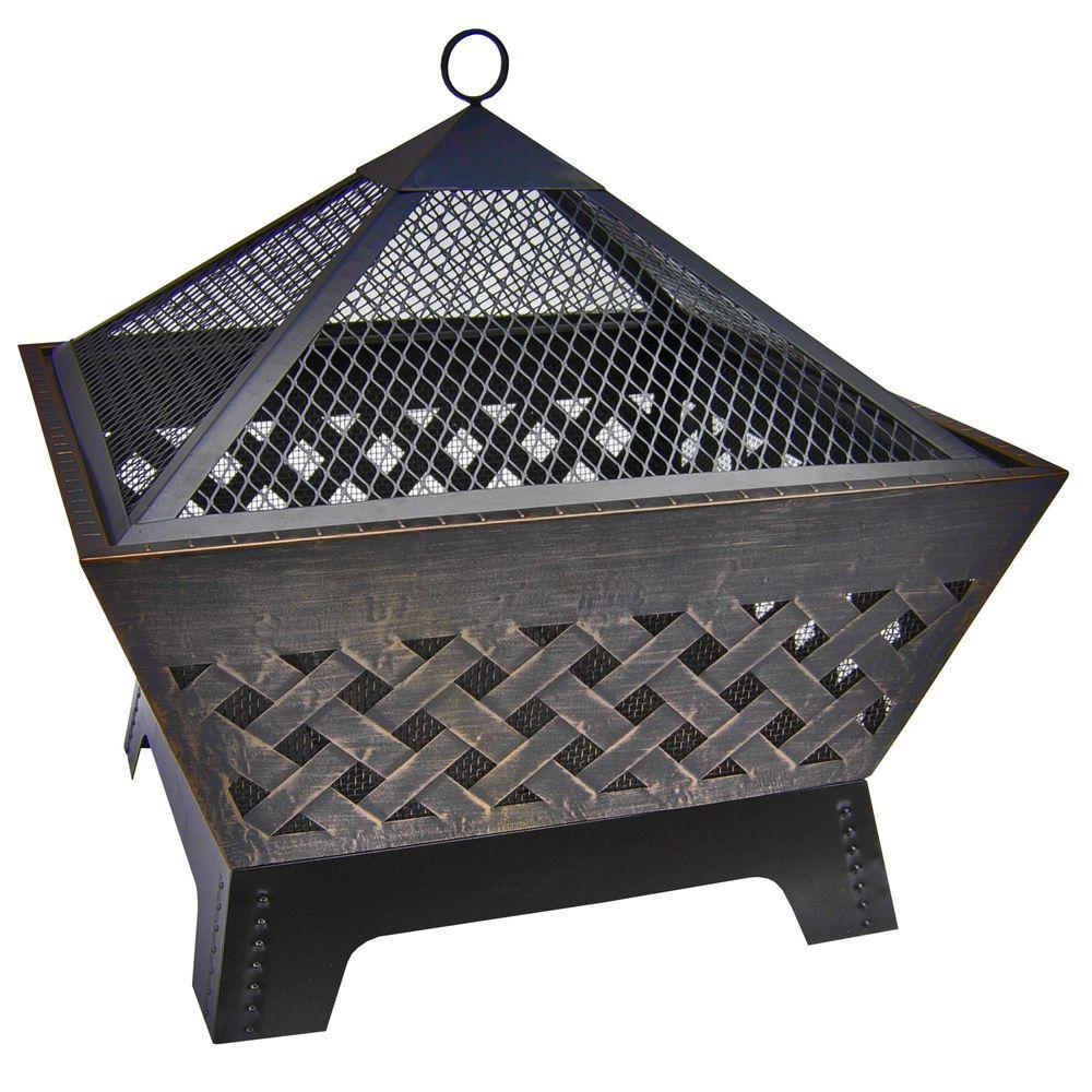 LANDMANN Barrone Lattice 26 in. Fire Pit in Antique Bronze with Cover