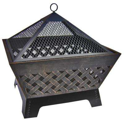 Barrone Lattice 26 in. Fire Pit in Antique Bronze with Cover