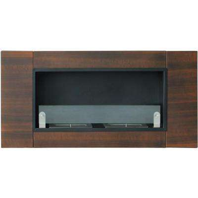 43.3 in. Wide Finestera Due Vent-Free Ethanol Fireplace in Dark Walnut Finish