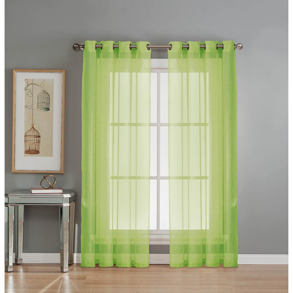 Sheer Sheer Elegance 84 in. L Grommet Curtain Panel Pair, Lime (Set of 2)