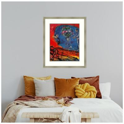 Couple of Lovers on a Red Background by Marc Chagall Framed Print Wall Art