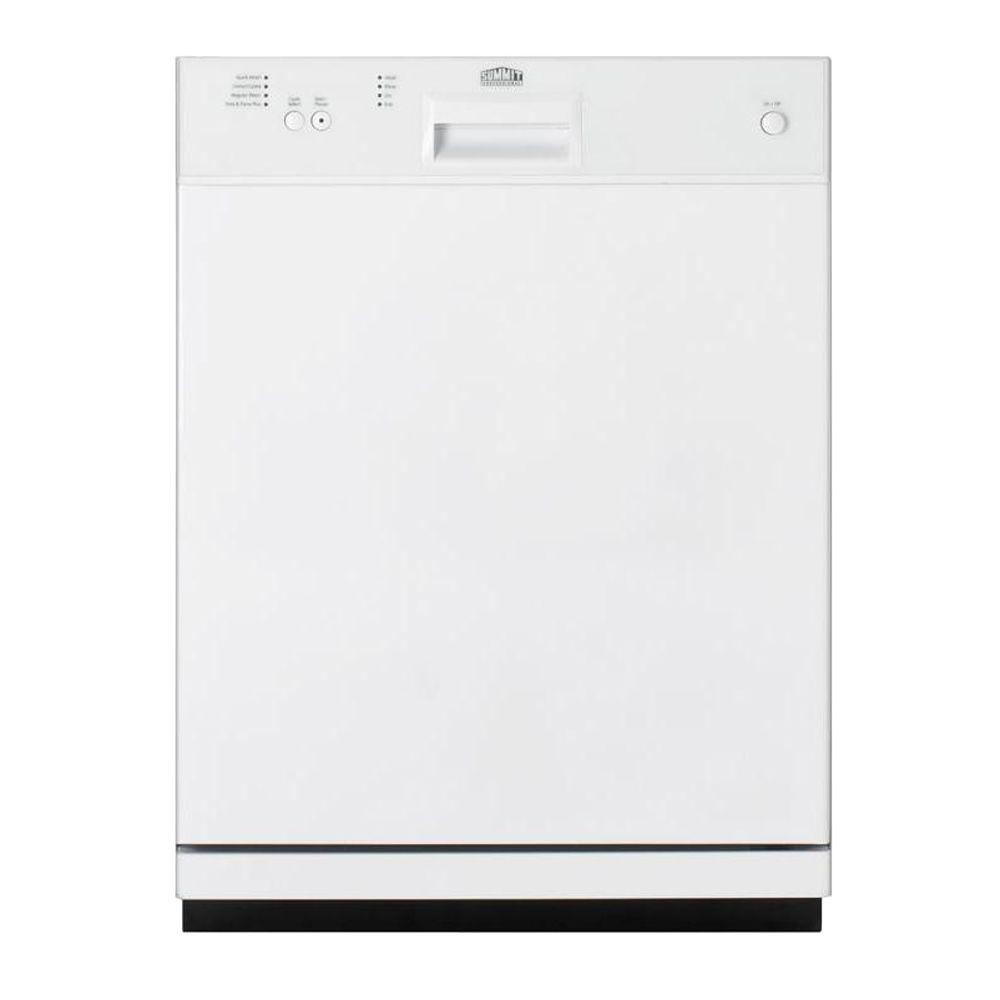 Summit Appliance Dishwasher in White with Stainless Steel Tub