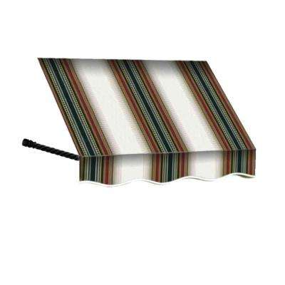 6 ft. Santa Fe Twisted Rope Arm Window Awning (44 in. H x 24 in. D) in Burgundy/Forest/Tan Stripe