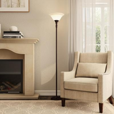 72 in. Bronze Torchiere Floor Lamp with Alabaster Glass Shade