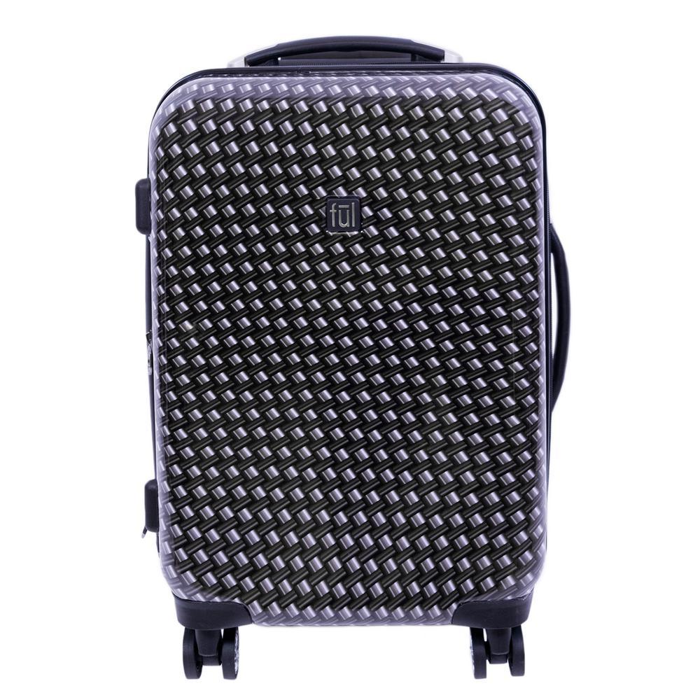 Metal Chain Swirl 20 in. Black Hard-sided Spinner Luggage