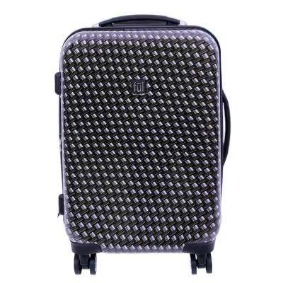 Metal Chain Swirl 20 in. Black Hard-sided Spinner Luggage