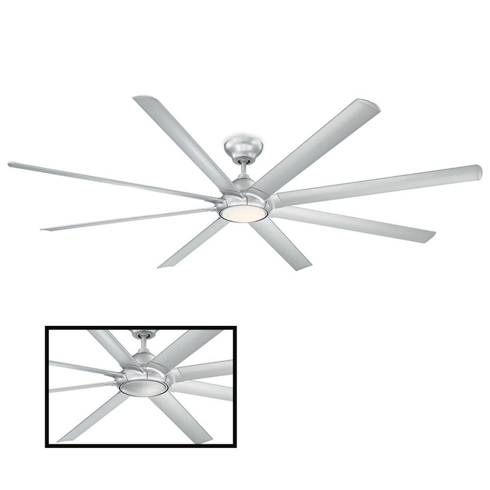 Modern Forms Hydra 96 in. LED Indoor/Outdoor Titanium Silver 8-Blade Smart Ceiling Fan with 3000K Light Kit and Wall Control
