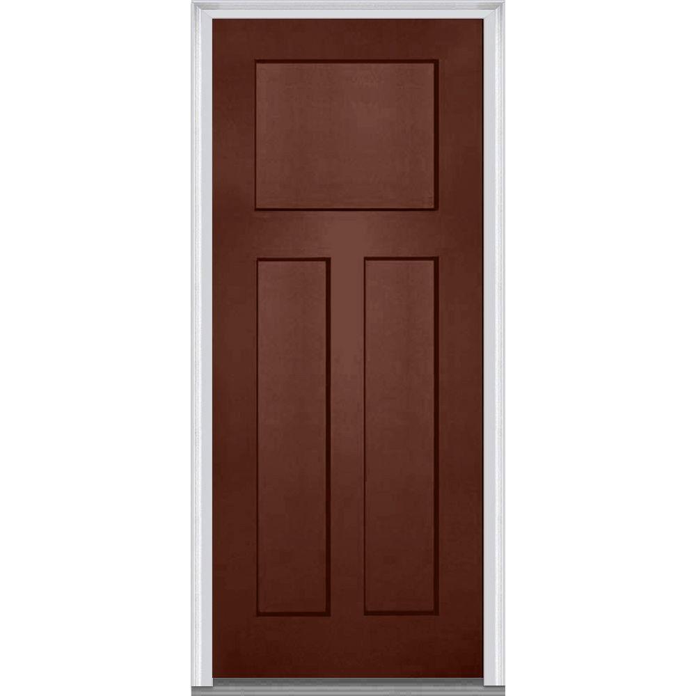 Mmi door 36 in x 80 in right hand inswing craftsman 3 for Prehung entry door with storm door