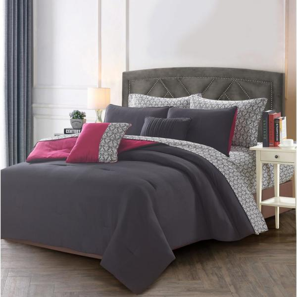 7-Piece Black/Maroon Twin Bed in a Bag Set 13303