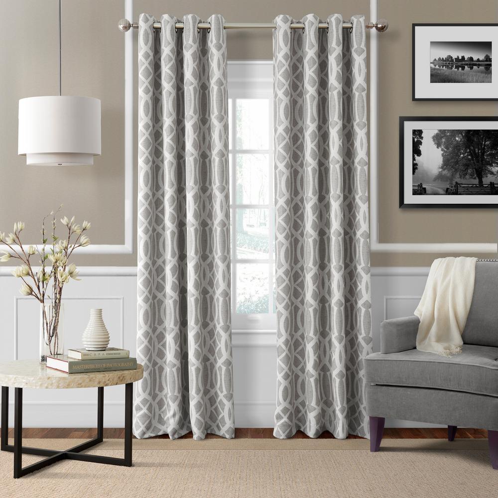 Blackout Harper Gray Blackout Window Curtain Panel - 52 inch W x 95 inch L by