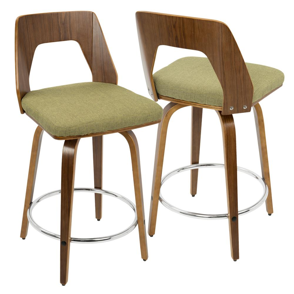 Trilogy Walnut and Green Mid-Century Modern Counter Stool