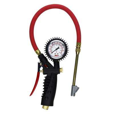 Pro Analog Pistol Grip Inflator Gauge with Straight Foot Dual Chuck and 15 in. Hose