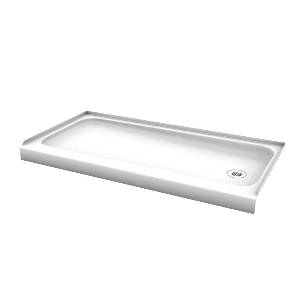 ShowerCast 60 In. X 30 In. Single Threshold Shower Pan In White With Right