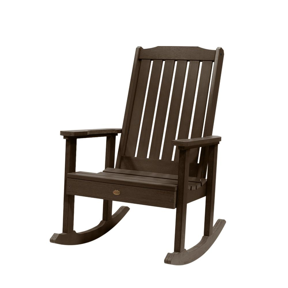highwood® Lehigh Weathered Acorn Recycled Plastic Outdoor Rocking Chair