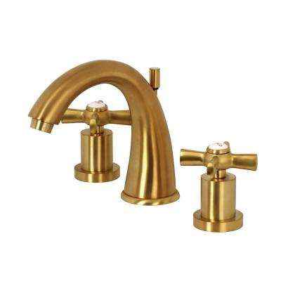 Modern Cross 8 in. Widespread 2-Handle Mid-Arc Bathroom Faucet in Satin Brass
