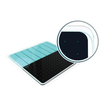 Viztex® Glacier 14 in. x 14 in. Teal and Black Plan and Grid Glass Dry Erase Board