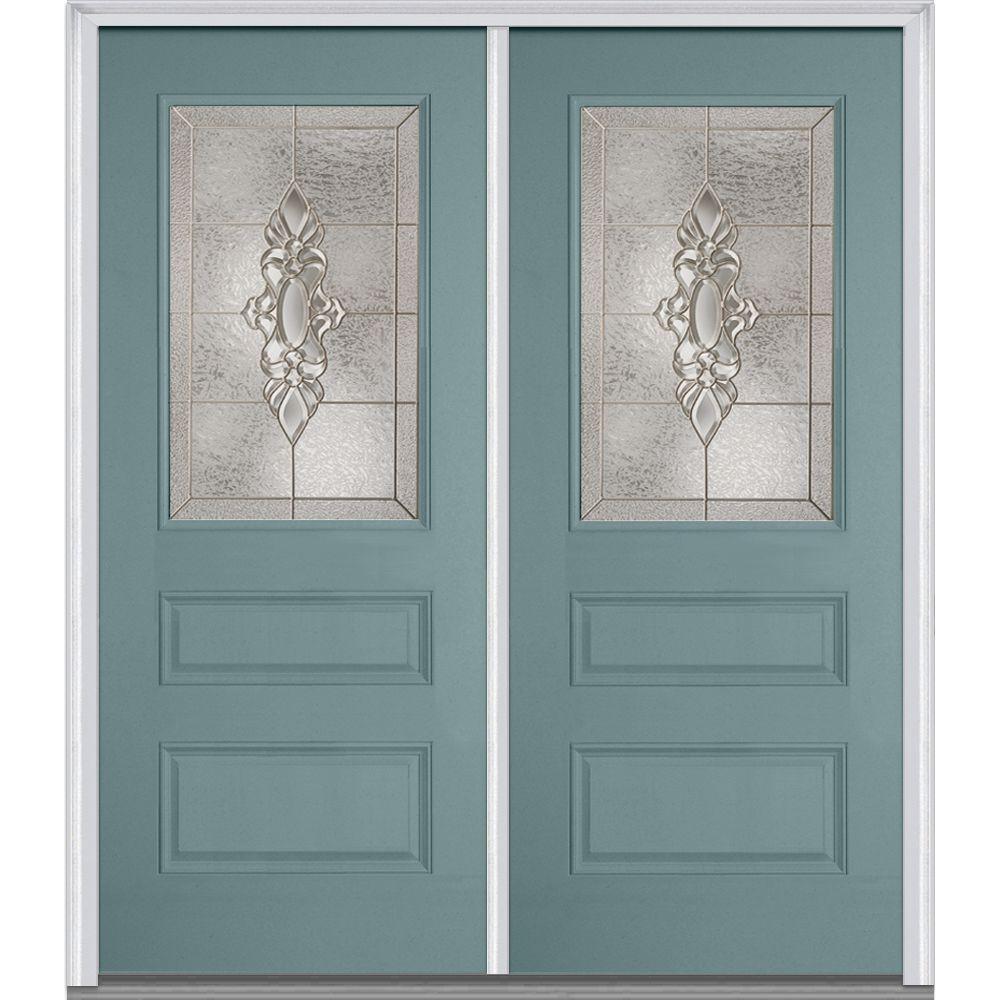 72 in. x 80 in. Heirloom Master Left-Hand 1/2 Lite 2-Panel Classic Painted Fiberglass Smooth Prehung Front Door